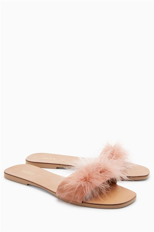 Next Pink Feather Mules