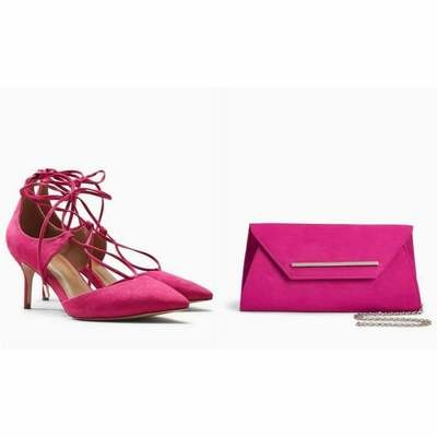 Pink Next Lace-Up Pointed Kitten Heels Set