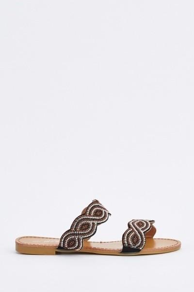 Spiral Encrusted Slide Black Sandals