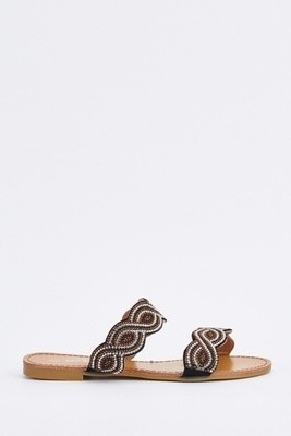 Spiral Encrusted Slide Black Sandals