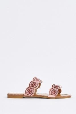 Spiral Encrusted Slide Pink Sandals