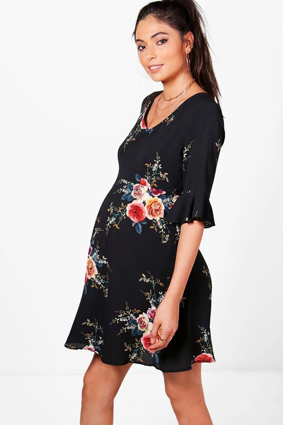 Maternity Ruffle Hem Skater Dress
