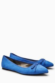 Blue Pointed Bow Ballerinas