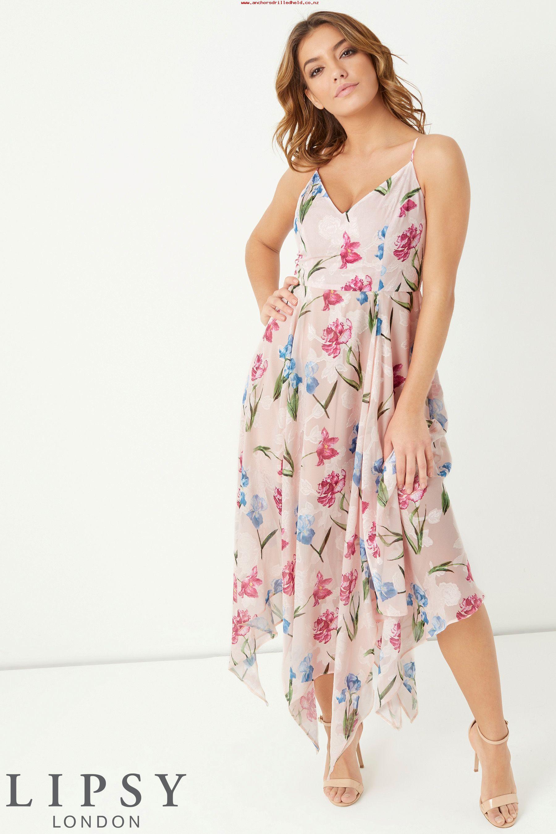 34e95066bb Lipsy Floral Jaquard Hanky Hem Dress