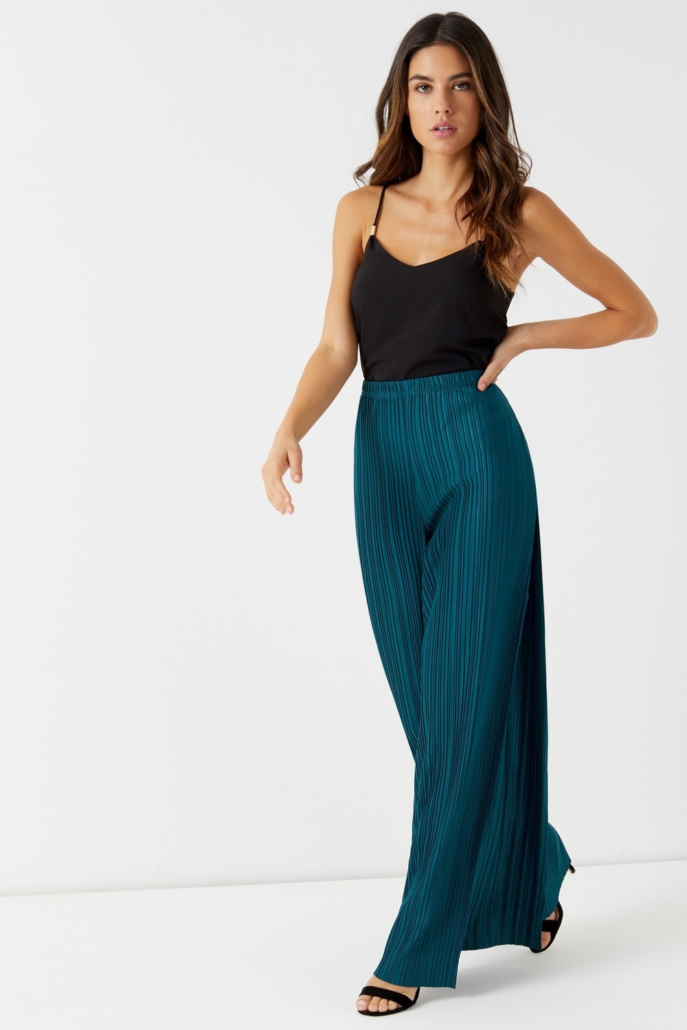 Boohoo Plisse Wide Leg Trousers Teal