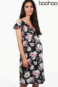 Maternity floral print cold shoulder dress
