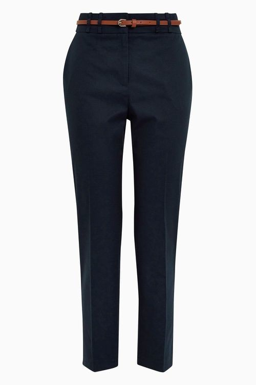 Black Cotton Blend Twill Trousers - Petite