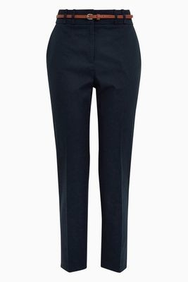 Black Cotton Blend Twill Trousers