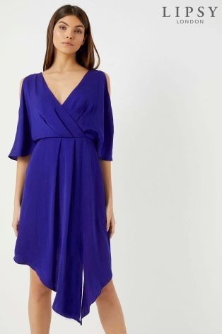 Lipsy Cold Shoulder Wrap Midi Dress