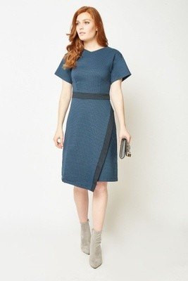 Textured Midi Wrap Dress