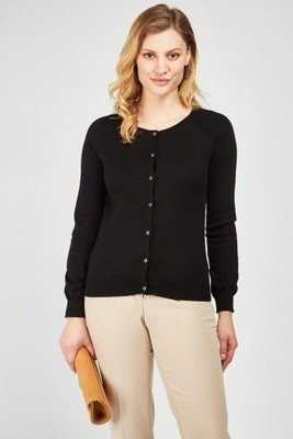 Fine Knit Button Front Cardigan