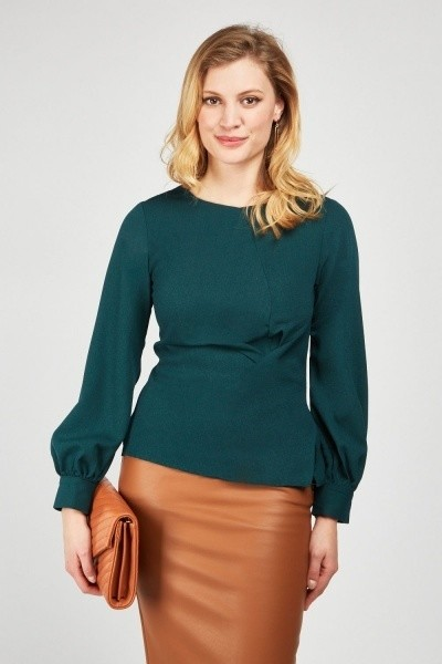 Bishop Sleeve Draped Blouse