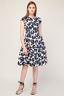 Printed Cap Sleeve Midi Dress