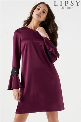 Petite Lace Insert Flute Sleeve Shift Dress