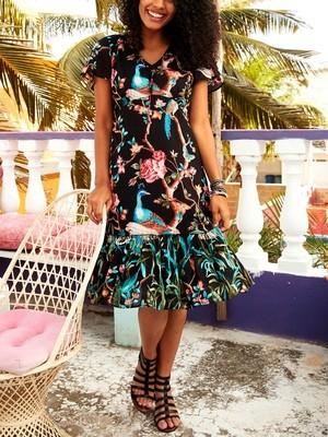 Oriental Bird Print Frill Hem Dress