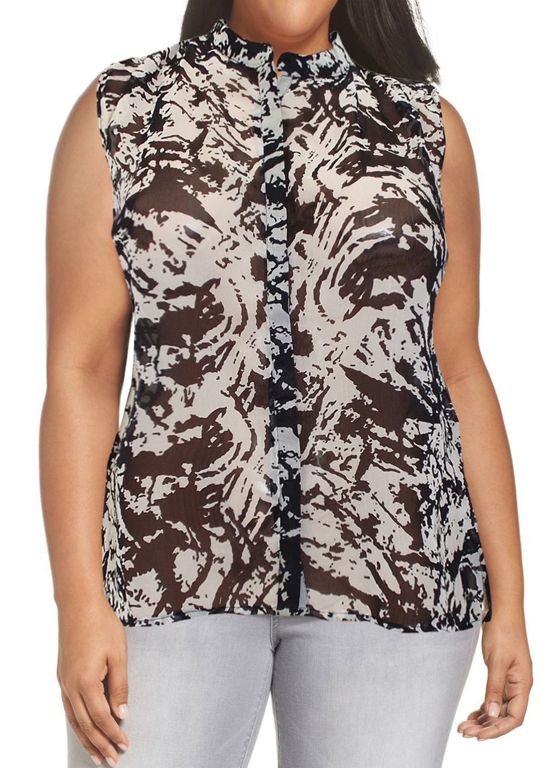 Sleeveless Printed Dipped Hem Shirt