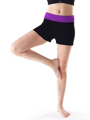 Cotton Rich Contrast Waist Yoga Shorts