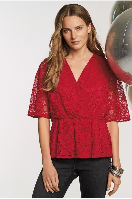 Lace Wrap Top Red