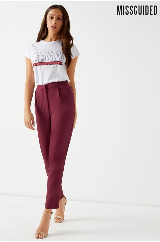 Cigarette tailored trousers burgundy