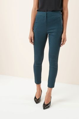 Teal Geometric Jacquard Trousers