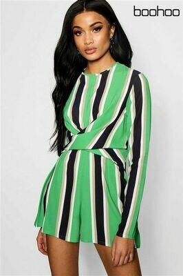 Green stripe twist front playsuit