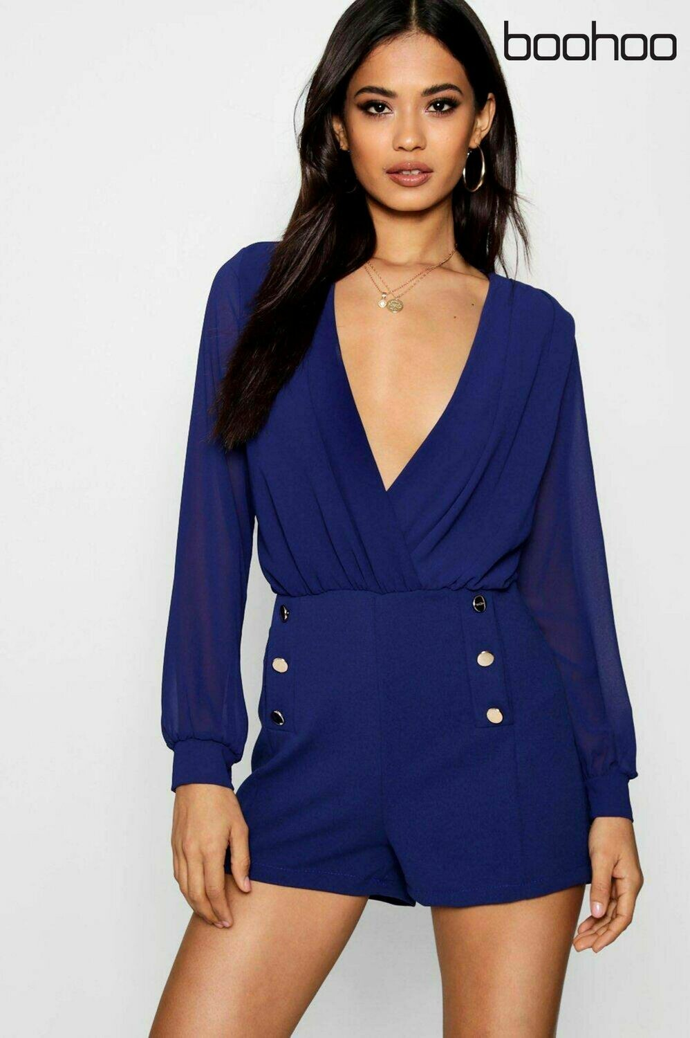 blue boohoo button detail wrap playsuit