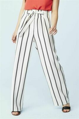Next cream/black stripe belted linen trousers