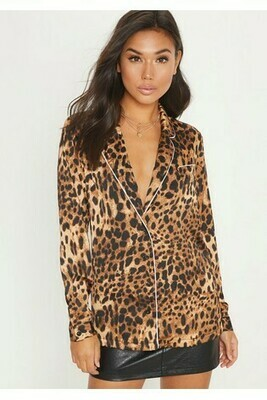 Leopard PJ Style Shirt With Contrast Piping