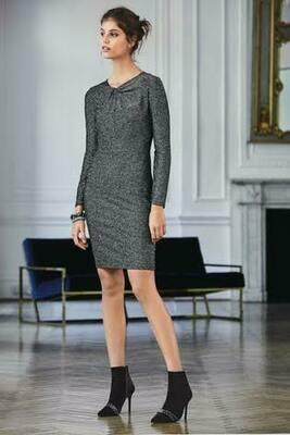 Black/Grey Sparkle Twist Neck Dress