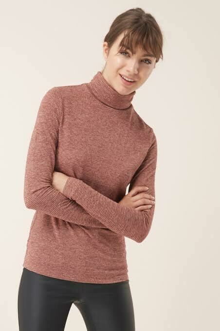 Turtle neck top Rust sparkle