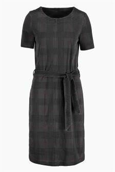 Checked Denim Jersey Dress