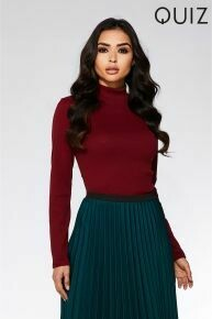 Turtle neck top Red