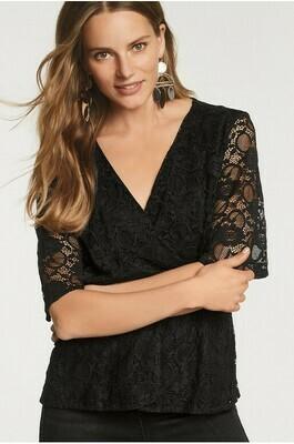 Black lace wrap top