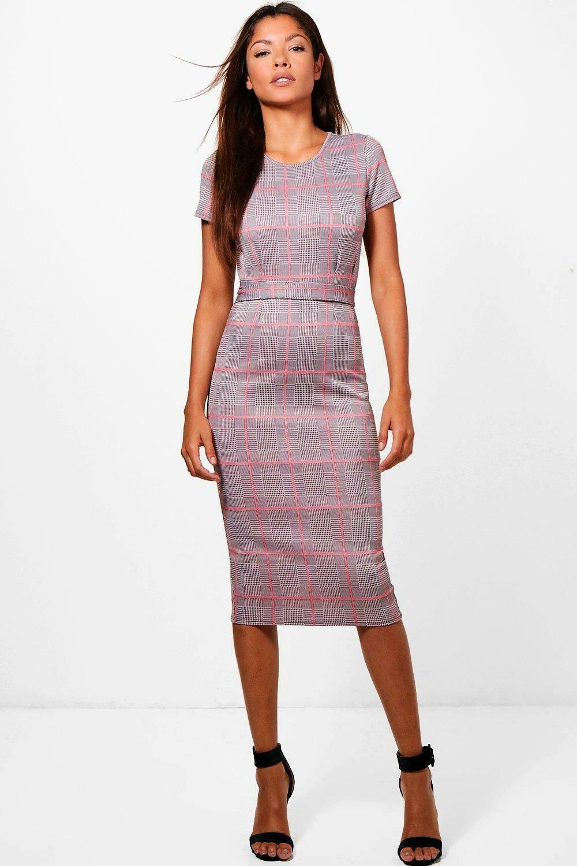 Check Belted Midi Dress