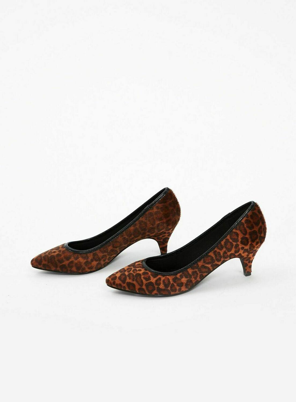 Extra Wide Fit Faux Leopard Print Kitten Heel Court Shoes