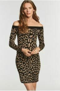 Leopard Jacquard Bardot Dress
