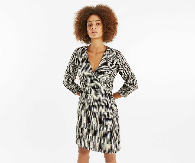 Black check wrap shift dress
