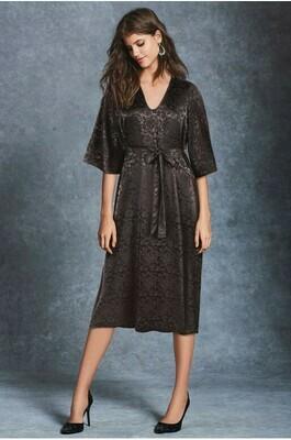 Black Floral Jacquard Belted Midi Dress