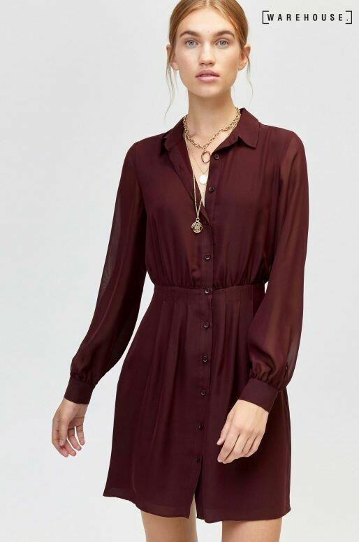 Fig Chiffon Pintuck Shirt Dress