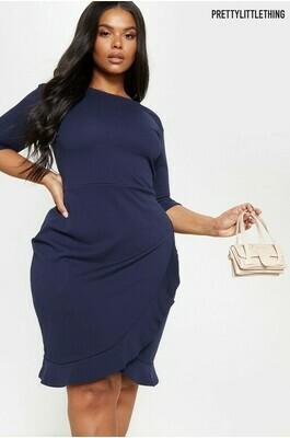 Curve Frill Hem Midi Dress