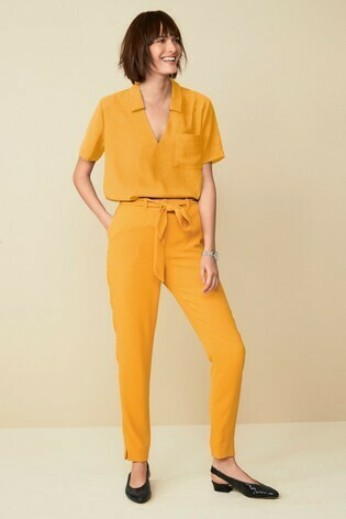 Co-ord Crepe V-Neck Top and Trousers Set Ochre