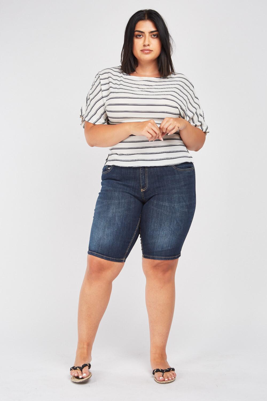 Dark Denim Blue Denim Shorts