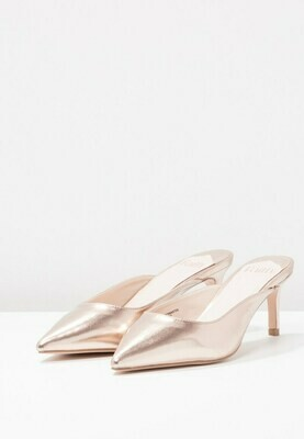 CASHUGHES - Point Gold Heeled Mules