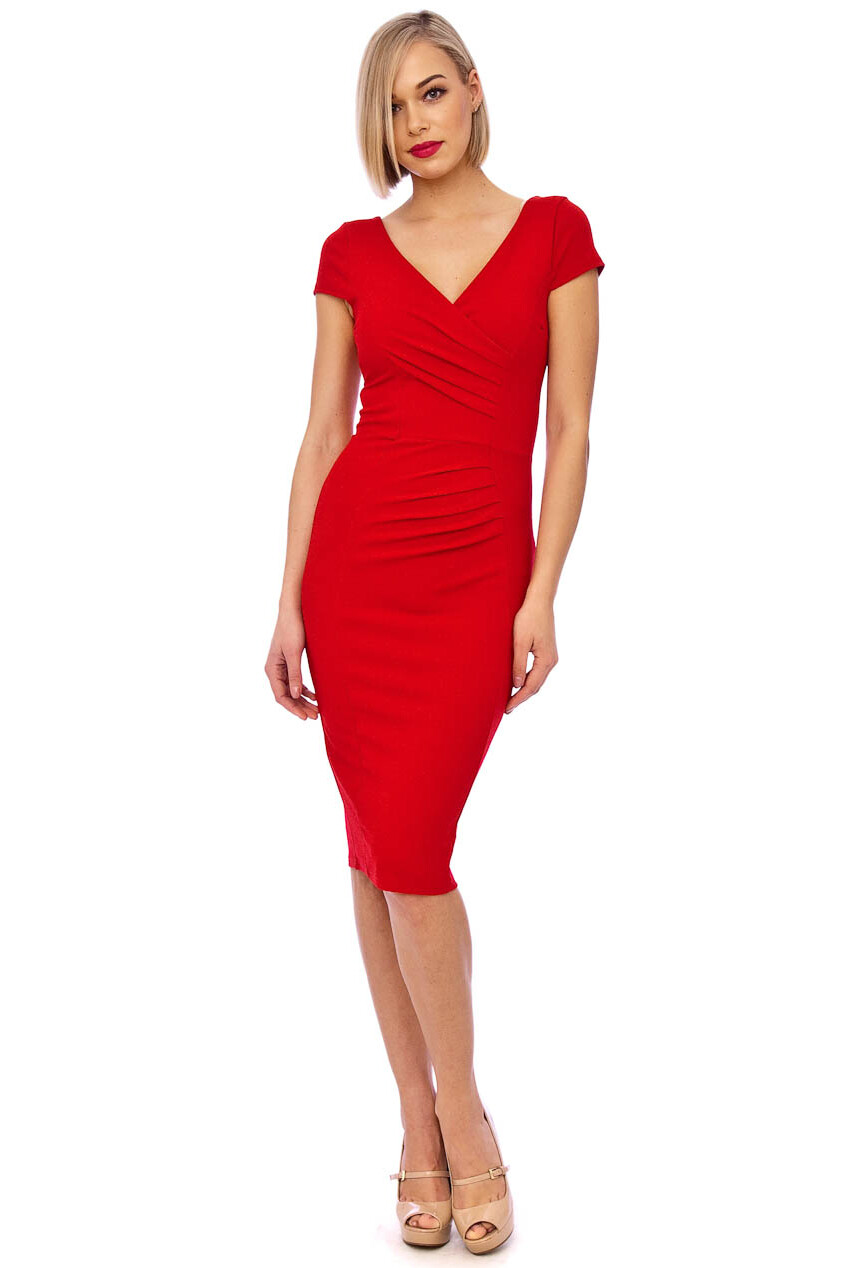 Red Scuba Crepe Midi Dress Featuring Pleat Detailing