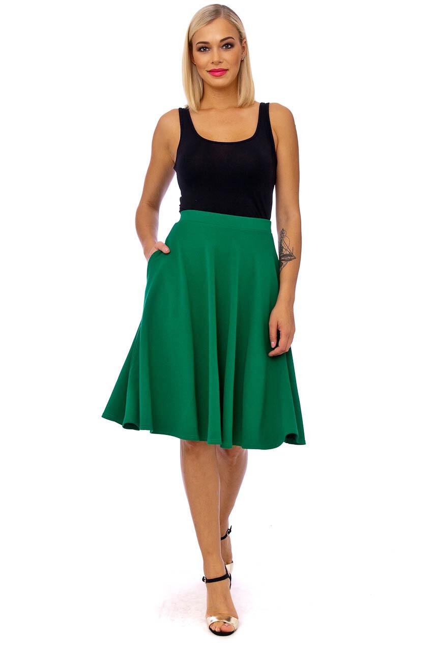 Full Flare Side Pocket Midi Skirt Emerald