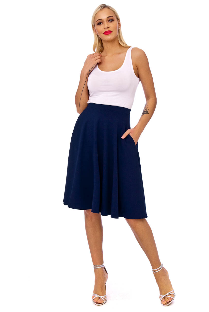 Full Flare Side Pocket Midi Skirt Navy