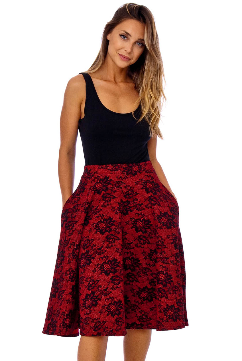 Flare Red Lace Print Pocket Skirt