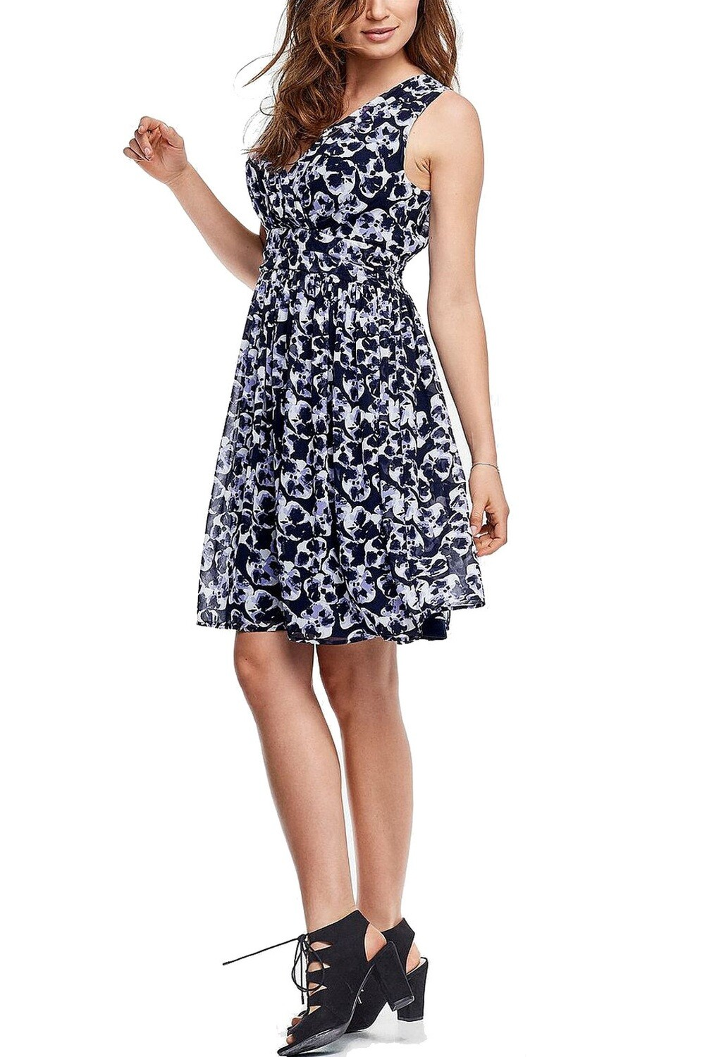 Crossover Front Sleeveless Floral Print Dress