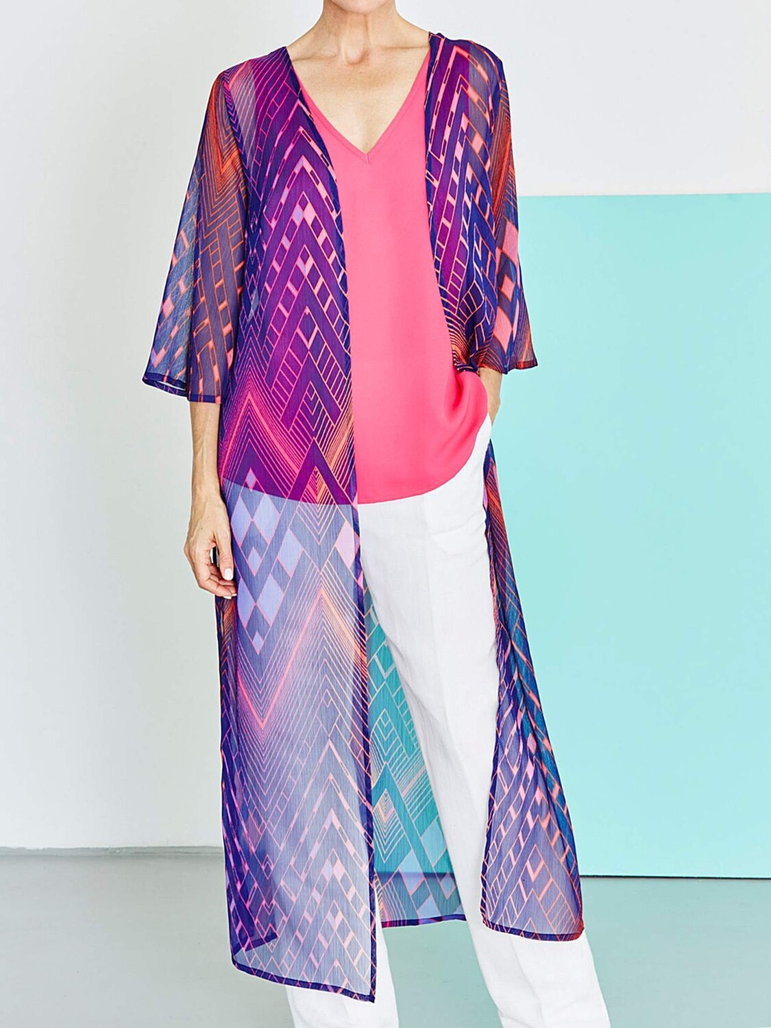 Pink Printed Longline Duster Kimono Cover-Up
