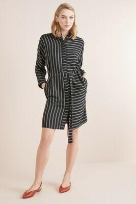 Black Stripe Belted Shirt Dress